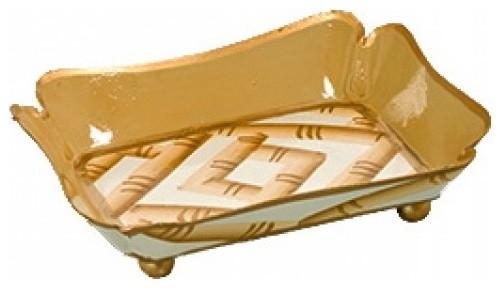 Bamboo cream and gold trinket tray craftsman bathroom for Cream and gold bathroom accessories