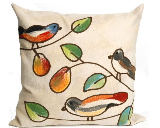 """Trans-Ocean Outdoor Pillows - Trans-Ocean Liora Manne Song Birds Cream - 20"""" x 20"""" - Designer Liora Manne's newest line of toss pillows are made using a unique, patented Lamontage process combining handmade artistry with high tech processing. The 100% polyester microfibers are intricately structured by hand and then mechanically interlocked by needle-punching to create non-woven textiles that resemble felt. The 100% polyester microfiber results in an extra-soft hand with unsurpassed durability."""