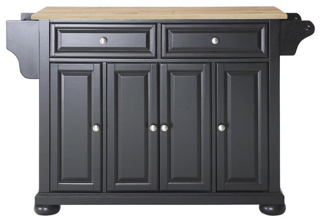 Crosley KF30001ABK Alexandria Natural Wood Top Kitchen Island in Black Finish traditional-kitchen-islands-and-kitchen-carts