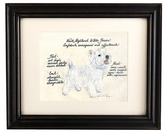 Ballard Designs - West Highland Terrier Dog Print - Hand colored & signed. Printed on parchment. Eggshell mat. Antique black frame. Our West Highland Terrier Dog Print was created by the dog-loving, husband and wife team of Vivienne and Sponge. The West Highland Terrier is known for being confident, courageous and affectionate. Each West Highland Terrier portrait is hand colored and embellished with notes on the breed's special characteristics. Printed on antiqued parchment, signed by the artists and framed in antique black wood with eggshell mat and glass front. West Highland Terrier Dog Print features: . . . . *Please note that personalized items are non-returnable.