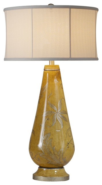 raschella hand painted yellow mustard porcelain table lamp. Black Bedroom Furniture Sets. Home Design Ideas