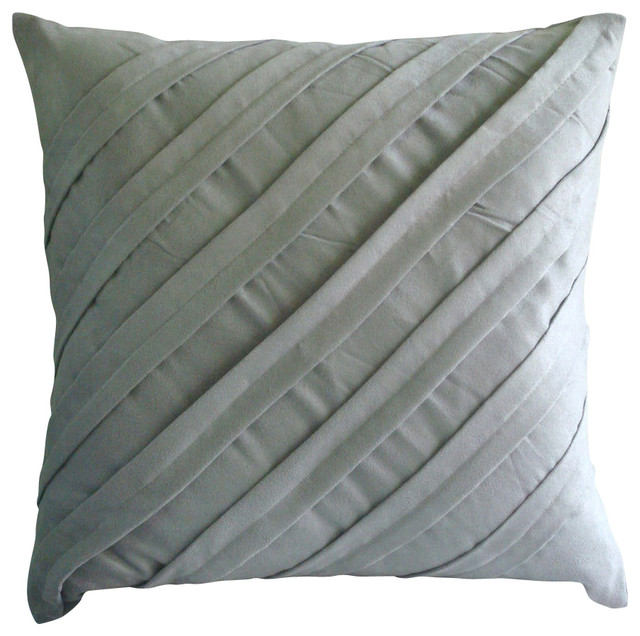Contemporary Light Grey Suede Throw Pillow Cover, 16x16 - Contemporary - Decorative Pillows - by ...