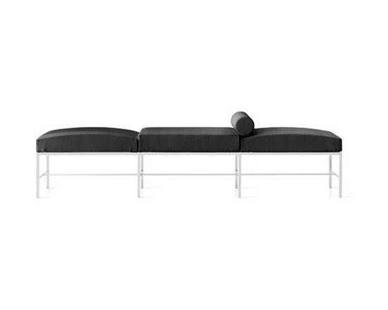 Pianca - Pianca | Paesaggio Bench - Design by Giampaolo Babetto. Made in Italy by Pianca. Its clean and minimalist styles borrows the classic frame of a simple bench and spins it with a modern touch. Masculine in construction, the bench focuses on its lines and overall shape through its materials (brushed metal and leather upholstery) and breaks continuity as it alternates between curved and squared cushions and draws the eyes attention to the roll cushion. The bench will easily enhance the arrangement of any situation with its chic configuration. Posh up your home.  Product Features: