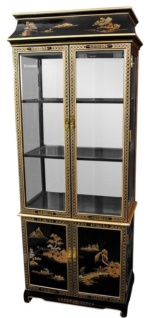 Ming Pagoda Top Curio Cabinet w/ Hand Painted Oriental Landscape - Traditional - Display And ...
