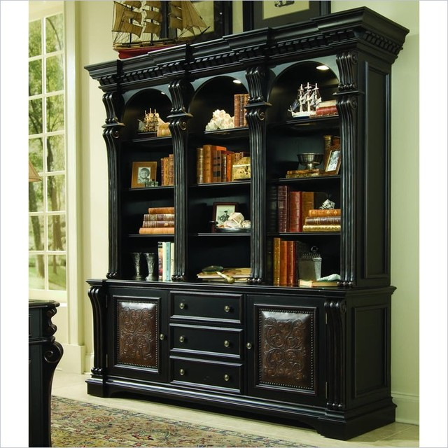 Hooker furniture telluride bookcase with bottom storage for Build traditional bookcases wall units