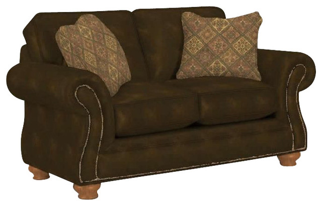 Broyhill Laramie Brown Loveseat With Attic Heirlooms Wood Stain Transitional Love Seats By