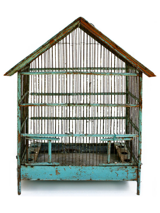 Birdcage - Beautiful aqua green painted birdcage. Handmade with nice wirework and molding details. Metal bottom for removing food and debris.