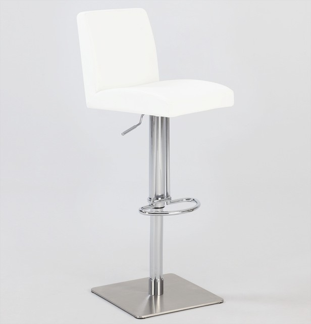 Pneumatic Gas Lift Swivel Stool In Brushed Stainless Steel