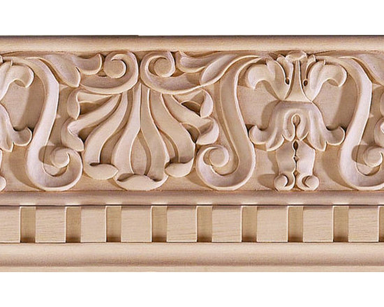 "Inviting Home - Pasadena Carved Crown Molding - oak wood - red oak hardwood crown molding 4-1/2""H x 4-1/2""P x 6-3/8""F sold in 8 foot length 3 piece minimum order required Hand Carved Wood Molding specification: Outstanding quality molding profile milled from high grade kiln dried American hardwood available in bass hard maple red oak and cherry. High relief ornamental design is hand carved into the molding. Wood molding is sold unfinished and can be easily stained painted or glazed. The installation of the wood molding should be treated the same manner as you would treat any wood molding: all molding should be kept in a clean and dry environment away from excessive moisture. acclimate wooden moldings for 5-7 days. when installing wood moldings it is recommended to nail molding securely to studs; pre-drill when necessary and glue all mitered corners for maximum support."
