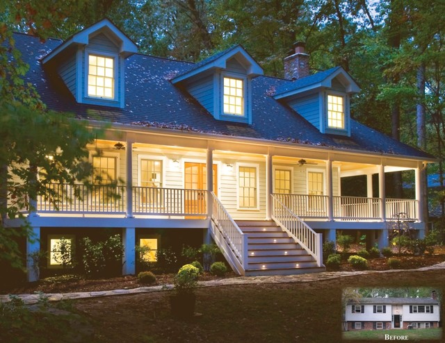 From split-foyer to 3-story, country-style home with wrap-around porch traditional-