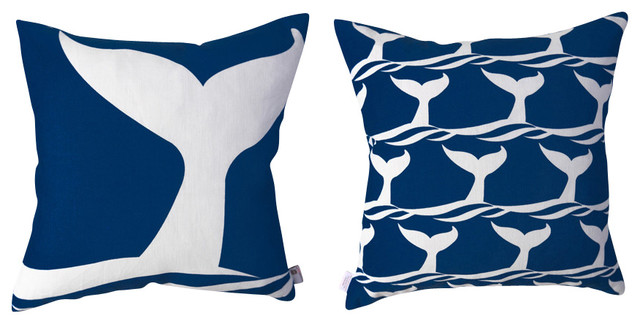Whale of a Tail Pillow - Indigo tropical-decorative-pillows