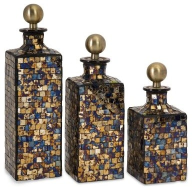 IMAX Moulin Mosaic Bottles - Set of 3 modern-food-containers-and-storage