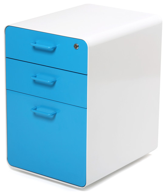 West 18th File Cabinet, White/Pool Blue - Modern - Filing Cabinets