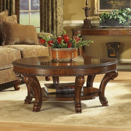 Old World Round Cocktail Table Set In Distressed Warm Pomegranate Modern Coffee Tables By