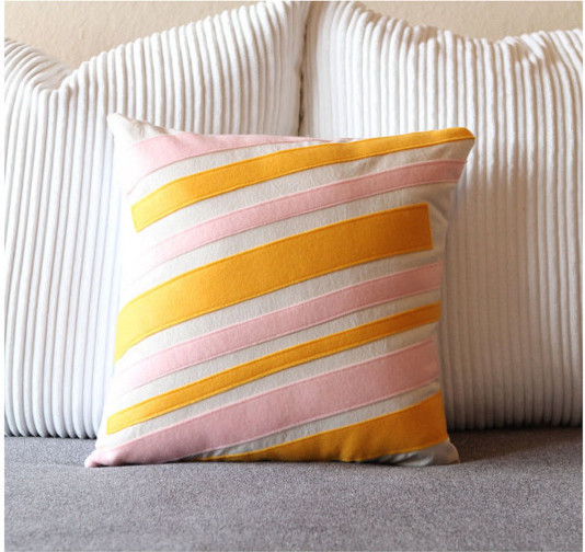 Tangerine and Pink Striped Cotton and Felt Pillow by Ekofabrik - Contemporary - Decorative ...
