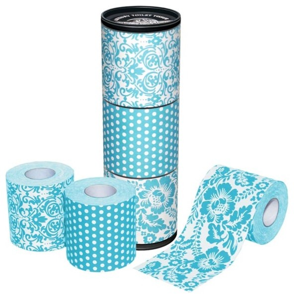 Aqua blue patterned toilet roll eclectic toilet for Aqua colored bathroom accessories