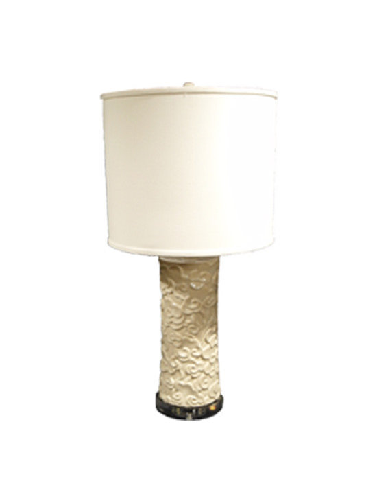 White Celestial Cloud Lamp - With its refined and stately look, your friends will think you procured this gorgeous lamp at a well-to-do estate auction or artisan market in the Far East! The ceramic porcelain base features an intricate floral motif while the linen shade adds a modern, contemporary flair
