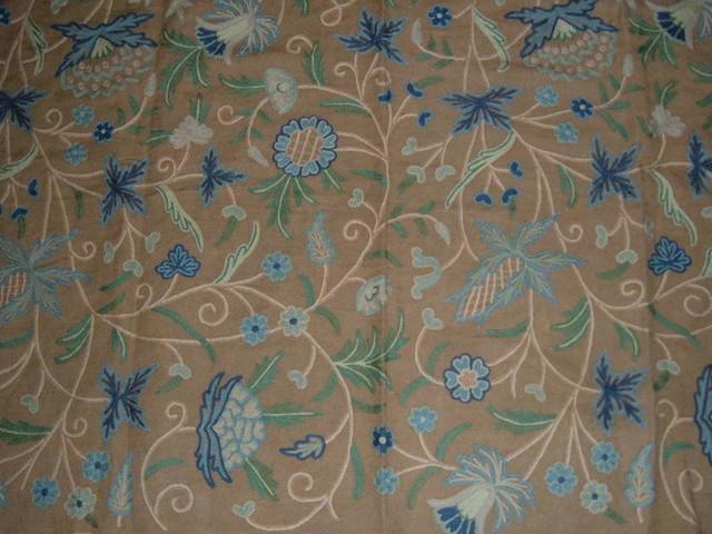 Crewel Fabric Antique Natural Brown Jute craftsman-upholstery-fabric