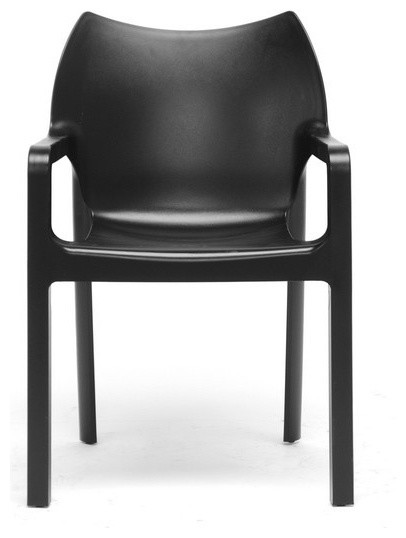 Limerick black plastic stackable modern dining chair set for Contemporary plastic dining chairs