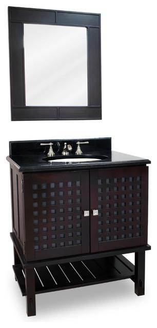 Basket-weaved Door Vanity Set with Frosted Glass transitional-bathroom-vanities-and-sink-consoles