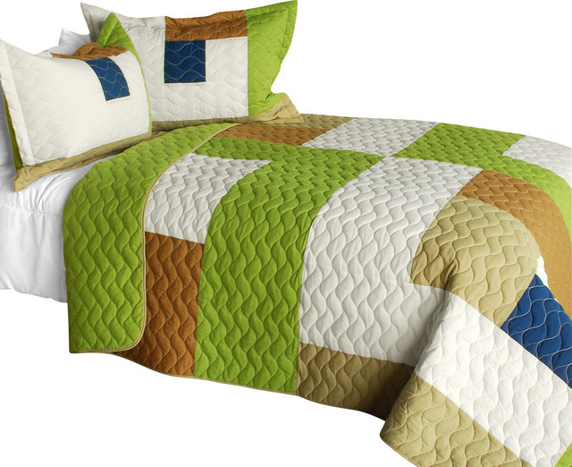 [Timeless - A] Cotton Vermicelli-Quilted Patchwork Geometric Quilt Set-Queen contemporary-quilts