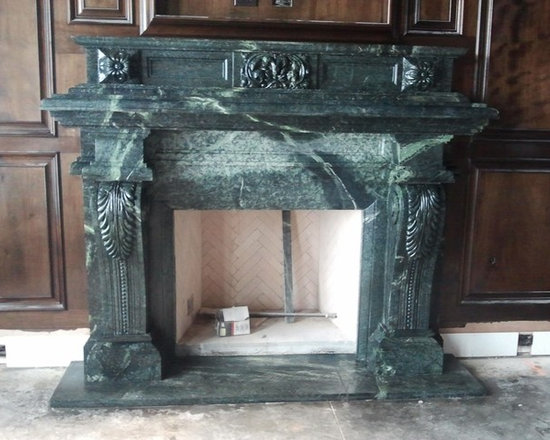 Installations - Dallas- hand carved custom marble mantle