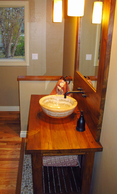 Onyx Vessel Sink, Reclaimed Teak Vanity & Mirror W/ Backsplash