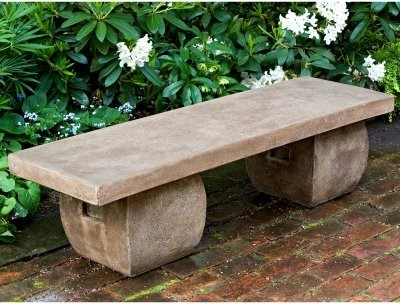Campania International Ryokan Cast Stone Backless Garden Bench contemporary-patio-furniture-and-outdoor-furniture