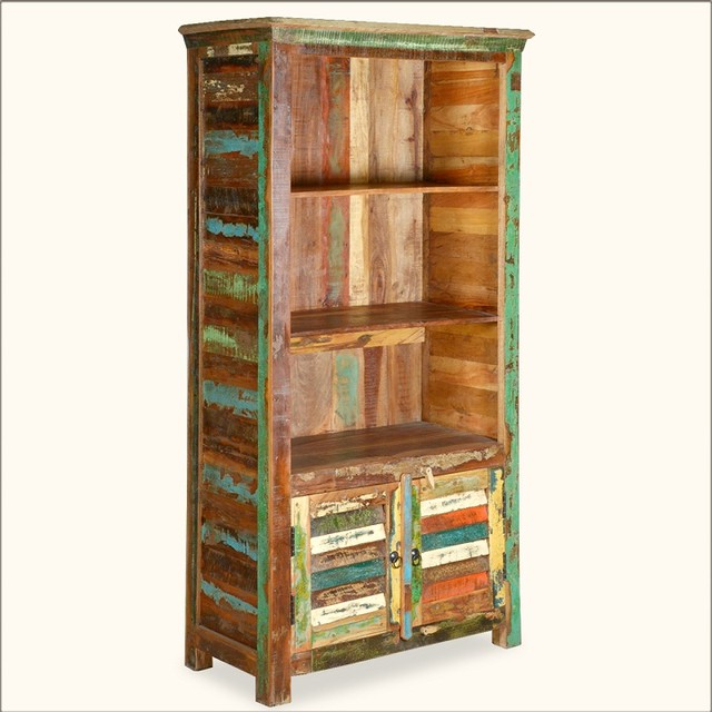 Appalachian Rustic Painted Old Wood Open Book Shelf Cabinet - Eclectic - Storage Cabinets ...