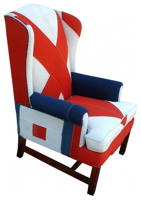 Nautical Signal Flag Wingback Chair eclectic-armchairs-and-accent-chairs
