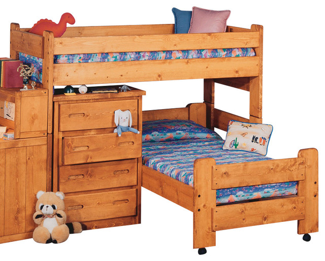 Chelsea Home Twin Over Twin Junior Loft Bed in Cinnamon traditional-kids-beds