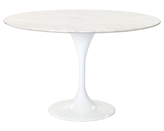 IMPORT LIGHTING & FUNITURE - Round Marble Tulip Table, 47'' - The Eero Saarinen Style Marble Round Table is a high quality reproduction in the style of the original design. With the mid point of the last century came huge advances in material technology and manufacturing processes, new plastics, resins and fibreglass could be mass produced quickly, efficiently and with consistent results. These developments provided exciting opportunity in many areas; not least of all for furniture design and prompted a new era of industrial design. In 1956 Eero Saarinen designed a complimentary range of tables and chairs which he named the Tulip range because of the slender, elegant stem like pedestals and organic shapes that typified the pieces. As with his namesake Eero Aarnios' designs the experimental use of materials and minimalist forms are often considered to be space age and their appeal has outlived the period in history from which they originated. This round Tulip Table is inspired by Eero Saarinen. It is elegant and practical, a credit to your kitchen or dining room.