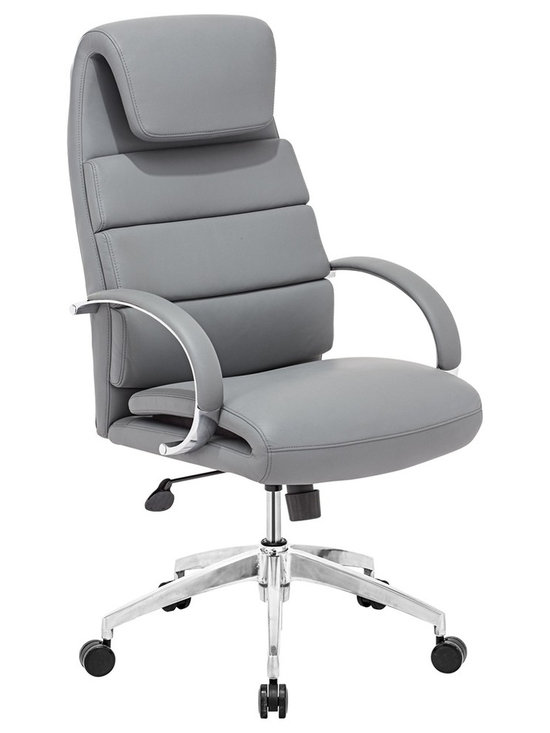 "Zuo - Zuo Lider Comfort Gray Office Chair - Gray faux leather office chair. This chair has a leatherette wrapped seat and back cushions with chrome solid steel arms with leatherette pads. There is a height and tilt adjustment with a chrome steel rolling base. Chrome finish solid steel arms with leatherette pads. Height and tilt adjustment. Crome finish steel rolling base. A chic addition to your home from Zuo Modern. 27 1/2"" wide. 27 1/2"" deep. Height adjusts from 44 1/2"" - 47 3/4"". Seat is 18"" square. Seat height adjusts from 20"" - 23 3/4"". Arm height adjusts from 27"" - 30"". Fully assembled.  Gray faux leather office chair.  This chair has a leatherette wrapped seat and back cushions with chrome solid steel arms with leatherette pads. There is a height and tilt adjustment with a chrome steel rolling base.  Chrome finish solid steel arms with leatherette pads.  Height and tilt adjustment.  Crome finish steel rolling base.  A chic addition to your home from Zuo Modern.  27 1/2"" wide.  27 1/2"" deep.  Height adjusts from 44 1/2"" - 47 3/4"".  Seat is 18"" square.  Seat height adjusts from 20"" - 23 3/4"".  Arm height adjusts from 27"" - 30"".  Fully assembled."