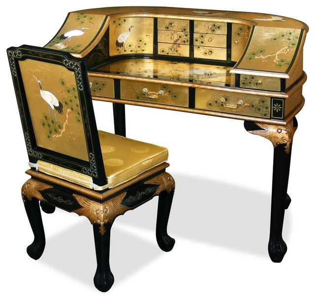 gold leaf crane motif harpsichord style desk w chair