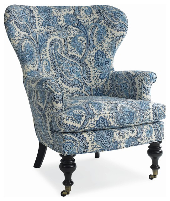 Mary Blue Amp White Paisley Wing Chair Traditional