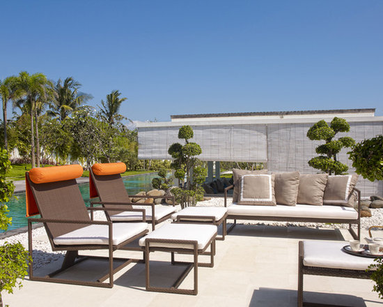 2013 Catalog - Malibu Collection designed by Dann Foley for Skyline Design. Features a sofa, club chairs, ottomans with removable cushions in Sunbrella fabric.