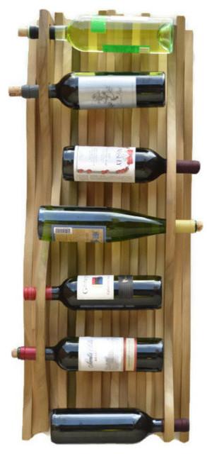 Falling Water Accent Hardwood Wine Rack, China Red modern-wine-racks