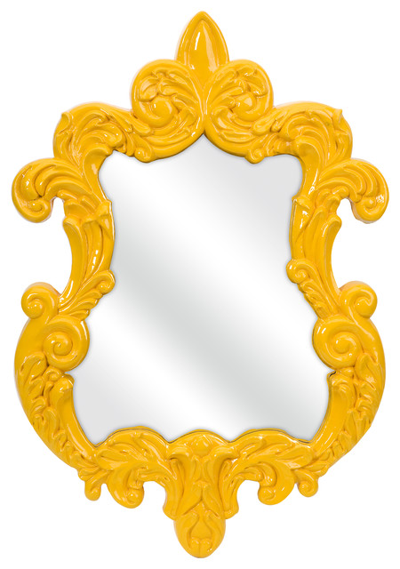 Finely Yellow Baroque Wall Mirror - Yellow transitional-tabletop
