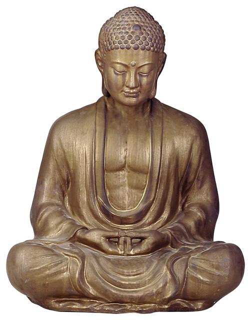 "Antique Bronze Ceramic Meditating Buddha Lotus Seat Sculpture- 30""H asian-sculptures"