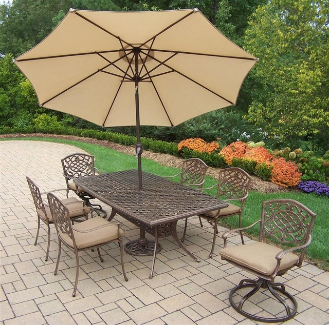 9-Pc Traditional Aluminum Outdoor Dining Set contemporary-outdoor-dining-sets