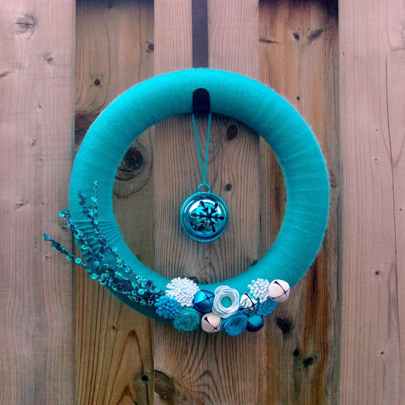 Blue Christmas Yarn Wrapped Wreath by Morning Songbird modern-wreaths-and-garlands