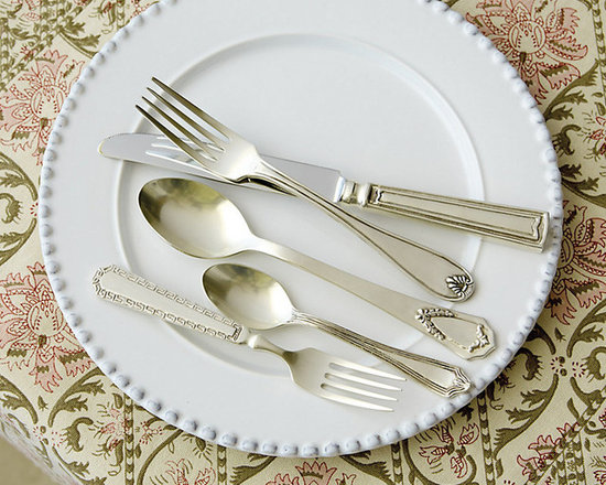 Ballard Designs - Estate 20pc Flatware Set - Includes four each of Salad Fork, Dinner Fork, Knife, Soup Spoon & Teaspoon. Great with mixed dinnerware. Dishwasher safe. We found the originals at a flea market and had the vintage patterns for our Estate Flatware recreated in every pretty detail. Each piece in the 20-piece set has a different design for a collected vintage look. Crafted of brass and 18/8 stainless steel for a nicely weighted feel.Estate Flatware features: . . .