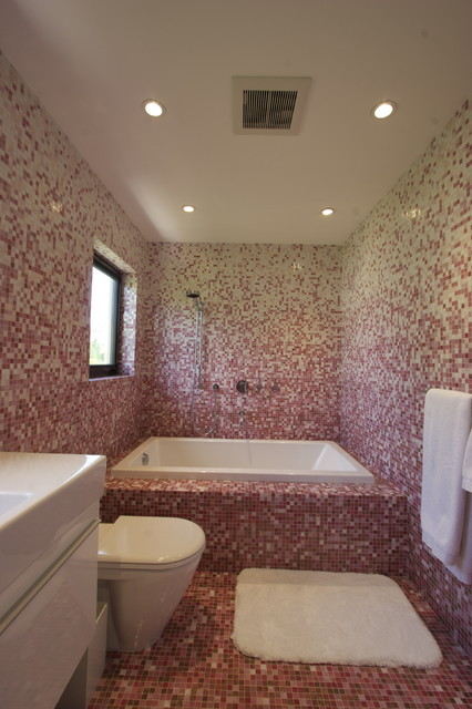 Pink Mosaic Bathroom modern bathroom