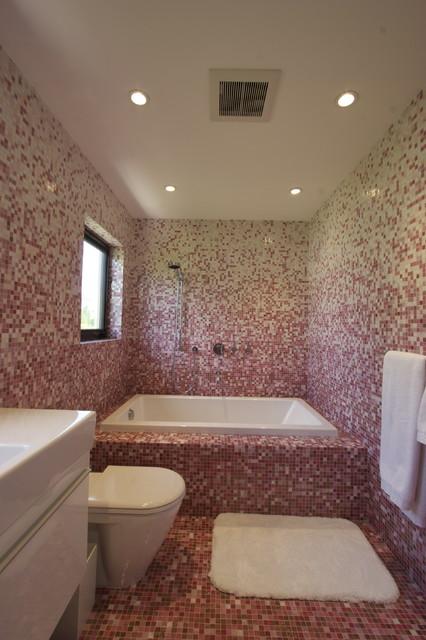 Pink Mosaic Bathroom modern-bathroom