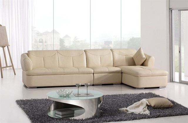 High-class Genuine Leather Sectional with Pillows modern-sectional-sofas