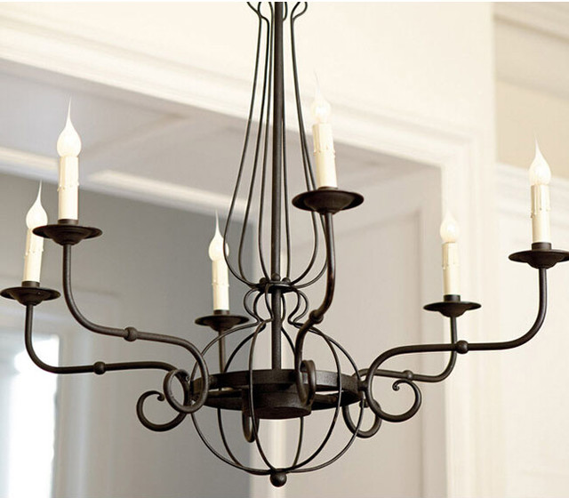 Antique iron art and candles chandelier rustic for Rustic outdoor chandelier