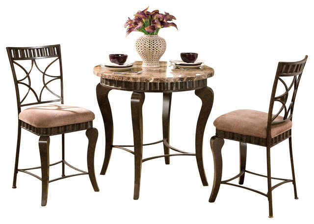 Steve silver hamlyn 3 piece round marble top counter table for Traditional round dining table sets