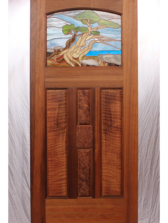 The Carmel-By-The-Sea Entry Door - Zoleta Lee Designs, The Carmel By The Sea Entry Door. MendocinoDoors.com This beautiful entry door is Old Growth vertical grain Redwood with Curly and Redwood Burl panes.  The beautiful stained glass window is by Zoleta Lee Designs.  This stained glass window was custom designed to match a painting that was painted by the clients mother.