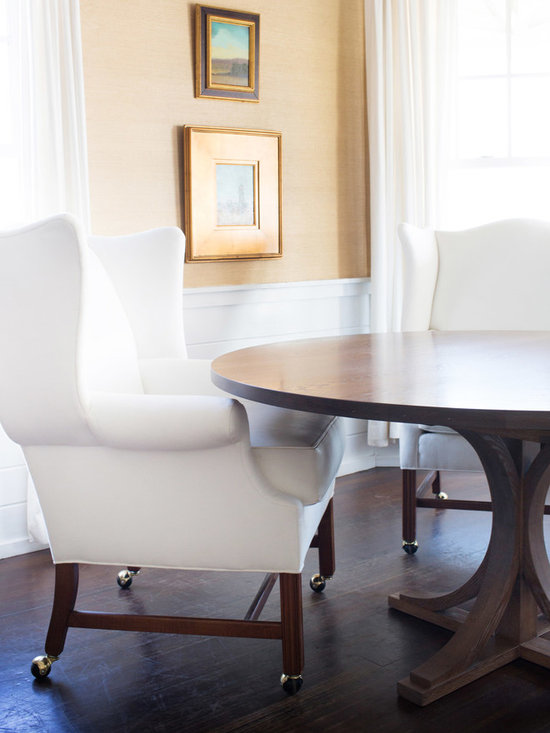 """The Gates Table by Huston & Company - The Gates Table,  handcrafted of solid white oak, has a whitewashed and slightly distressed finish. The beautiful pedestal style works well in a traditional or modern setting. The Gates Table measures 30""""H x 60"""" diameter. Custom sizes available. Photo Erin Gates, www.elementsofstyleblog.com"""