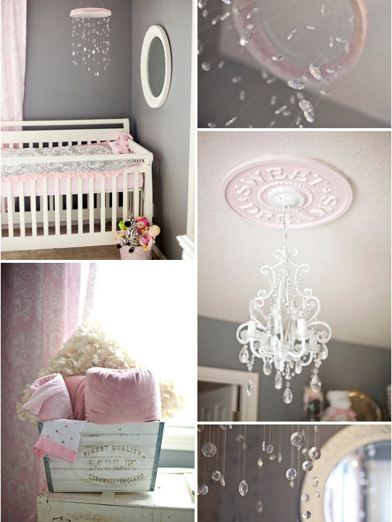 The Little Umbrella - http://www.thelittleumbrella.com/blog/kennedys-shabby-chic-nursery-in-gray-and-pink/